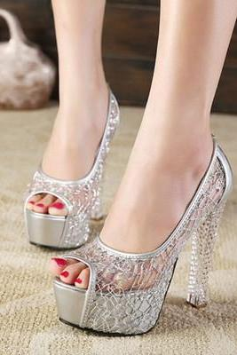 Crystal sexy mesh sequined women's high-heeled shoes