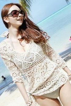 Long Sleeve Crochet Lace Top In Three Colors swimwear Beach