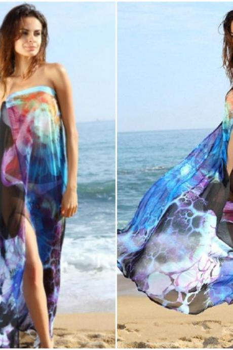 Fashion Floral Print Beach Blue Chiffon Cover-Up