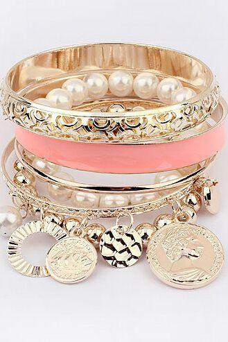 Trendy pearls coins and chain charm pink woman bracelet