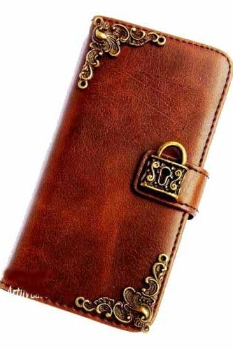Lock iPhone 6 Wallet case,iphone 6 4.7 leather case,iphone 6 Flip Case,Victorian Lock iphone 6 PLUS Leather Pouch wallet case cover F Brown