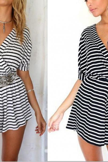 STRIPE DRESS CONJOINED SHORTS FASHION SEXY V-NECK CULTIVATE ONE'S MORALITY DRESS