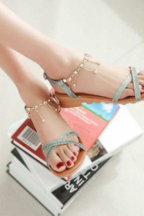Cute Cross Strap Sandals In Blue