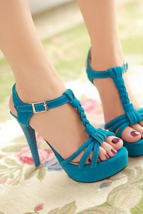 Fashion Stiletto T Strap Blue Sandals