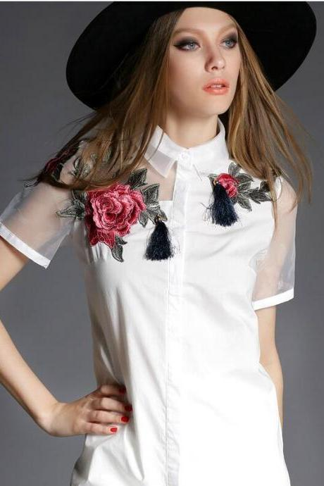 Summer new short-sleeved embroidered organza shirt Slim and long sections Women