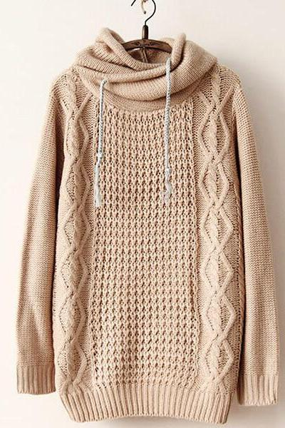 Retro Loose Hooded Knit Sweater
