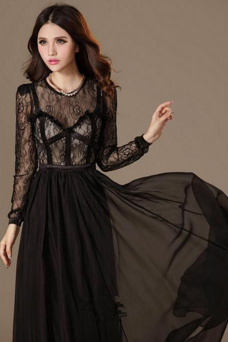 Vintage Long Sleeves Chiffon Maxi Lace Cocktail Dress