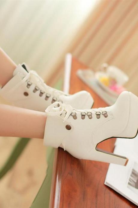 Winter Round Toe Stiletto High Heel Lace Up Ankle White Martens Boots