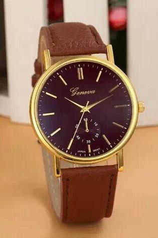simple watch, brown leather watch, leather watch, bracelet watch, vintage watch, retro watch, woman watch, lady watch, girl watch, unisex watch, AP00248