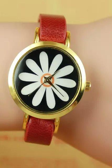 Chrysanthemum watch, red leather watch, leather watch, bracelet watch, vintage watch, retro watch, woman watch, lady watch, girl watch, unisex watch, AP00256