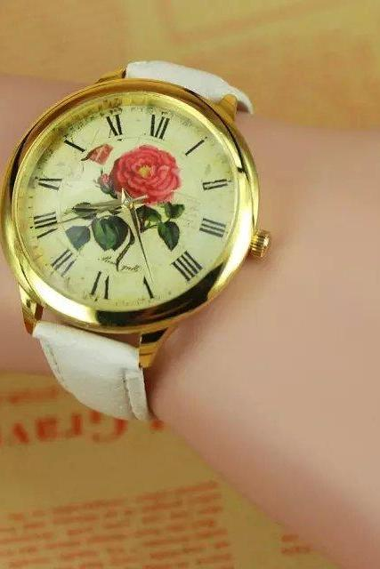 Rose watch, white leather watch, rose leather watch, bracelet watch, vintage watch, retro watch, woman watch, lady watch, girl watch, unisex watch, AP00264