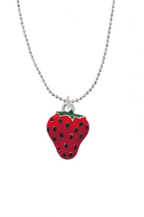 NC-C1258-BC - Large Enamel Strawberry Ball Chain Necklace - 18 Inches
