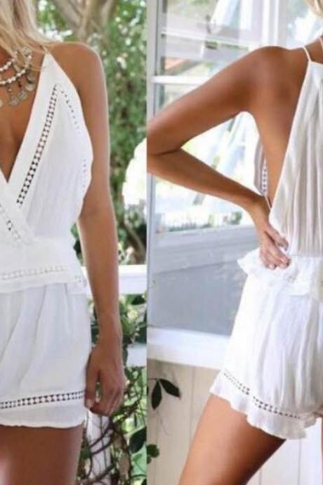 ON SALE WHITE CONDOLE BELT SEXY JUMPSUITS ROMPER PLAYSUIT JUMPSUIT