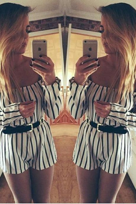 on sale CUTE SHOULDER STRIPES JUMPSUITS NO BELT