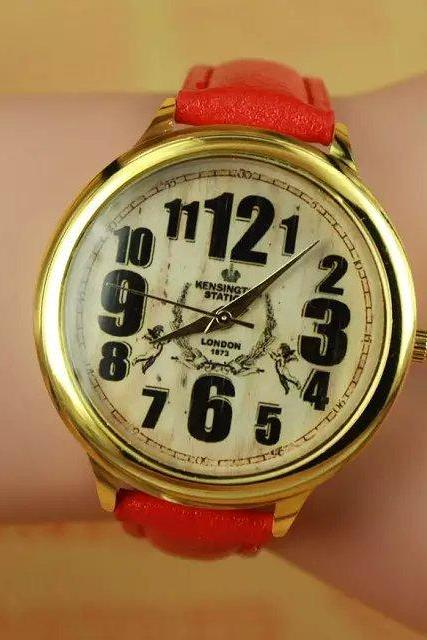 Vintage style watch, red leather watch, bracelet watch, vintage watch, retro watch, woman watch, lady watch, girl watch, unisex watch, AP00276