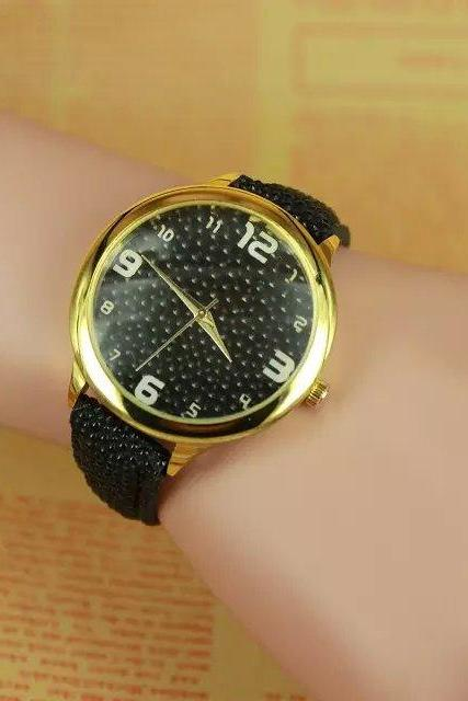 concave-convex watch, black leather watch, bracelet watch, vintage watch, retro watch, woman watch, lady watch, girl watch, unisex watch, AP00291