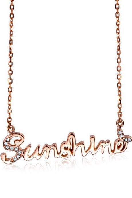 FREE SHIPPIING SELL 14k Rose Gold Crystal Butterfly Sunshine Pendant Fashion Necklace