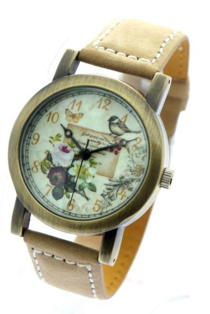 Letter bird watch, beige leather watch, leather watch, bracelet watch, vintage watch, retro watch, woman watch, lady watch, girl watch, unisex watch, AP00298