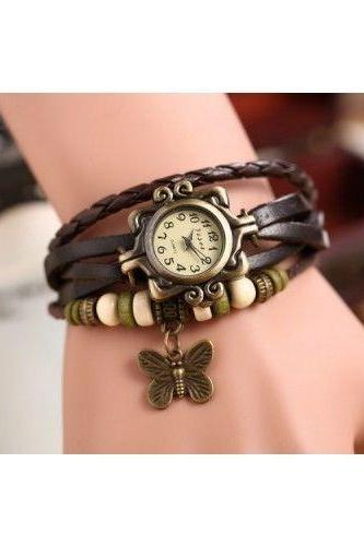 Butterfly leather bracelet watch