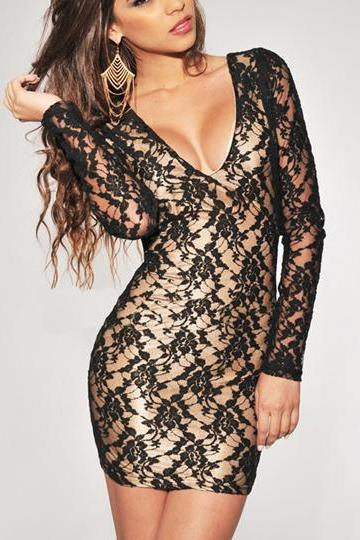 Alluring Deep V Neck Open Back Black Embroidered Lace Dress