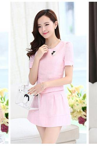 European Ladies Slim Waist Skirt summer Trendy fashion Short Sleeved Cotton Dress