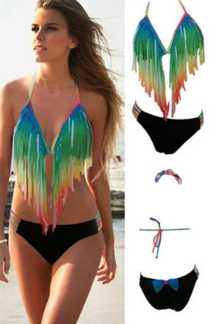 Women Sexy Gradient Rainbow Long Fringe Swimsuit Bathing Suit Bikini