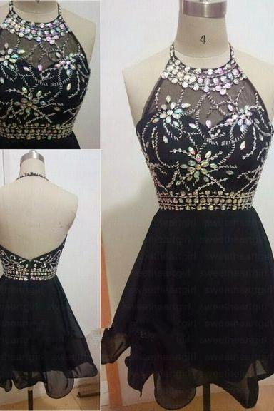 Black Beaings Chiffon Short Prom Dresses, Beadings Prom Dresses, Black Prom Dresses, Homecoming Dresses, Graduation Dresses