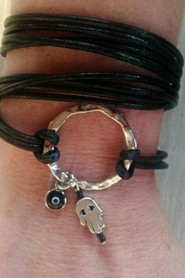 Boho Black Leather Four Times Wrap Bracelet, Infinity Bracelet, Silver Hammered Circle, Evil Eye Jewelry, Hamsa Bracelet, Protection Jewelry