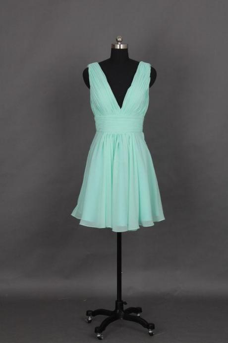 Chartming Mint Short V-neckline Chiffon Bridesmaid Dresses, Short Bridesmaid Dresse, Bridesmaid Dress, Wedding Party Dress