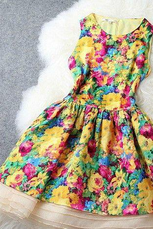 Fancy Chiffon Sleeveless Floral Dress In 2 Colors