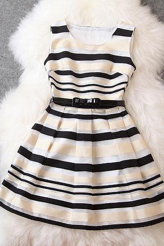 New Luxury Stripe Dress - Black