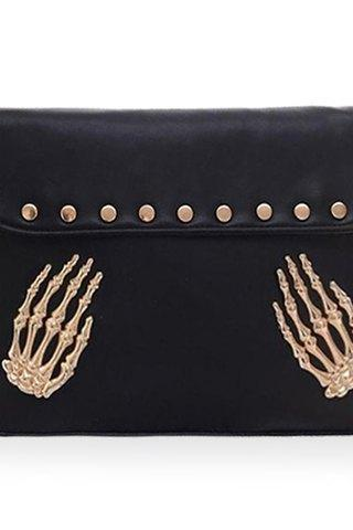 Studded Black Shoulder Bag With Metallic Gold Chain