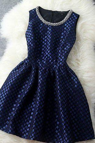 Cute Vintage Inspired Deep Blue Beaded Collar Sleeveless Party Dress