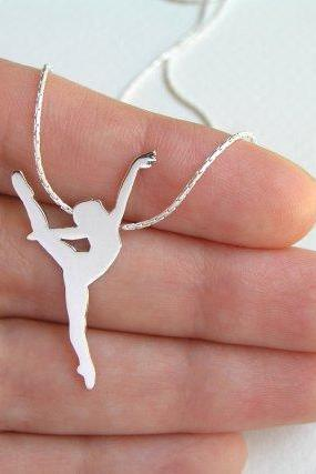 Sterling Silver Dancer Necklace Pendant - Ballerina Necklace - Ballet Dancer Silhouette - Ballet Jewelry - Hand Cut