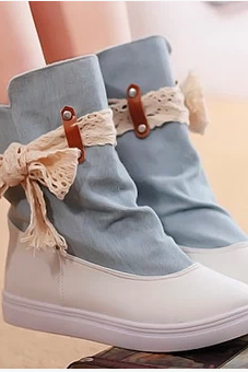 High Fashion Lace Leisure Sponge Base Platform For Boots Flat Boots