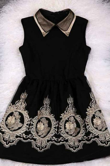 Elegant Black And Gold Lace Embroidered Party Dress