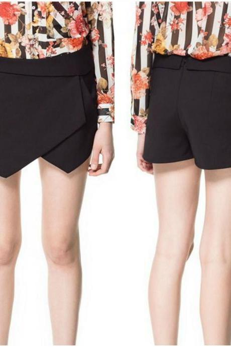 Irregular Hem Pure Black Fashion Shorts