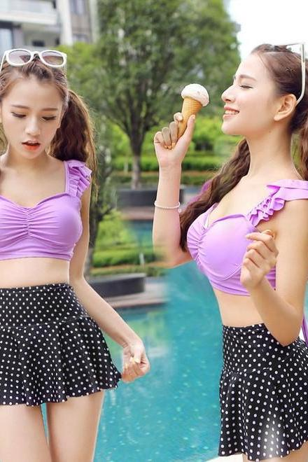 Retro Design Bikini tankinis Top Polka Dot Swim High Waist Skirt swimsuit