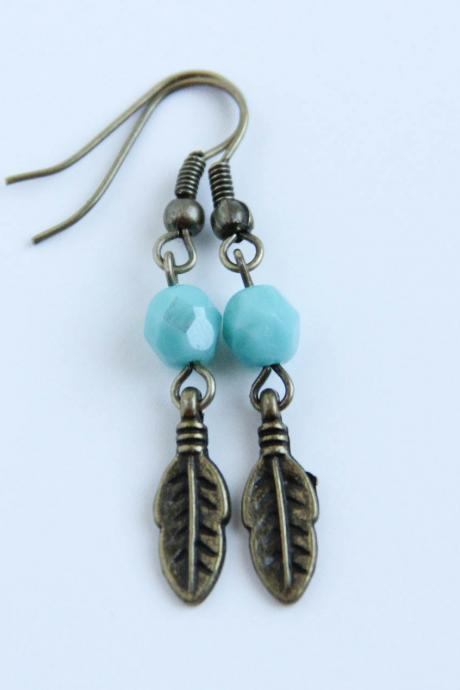 Turquoise Brass Feather Earrings