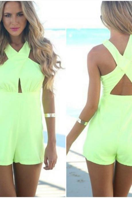 Gorgeous Cross Back Design Green Jumpsuit