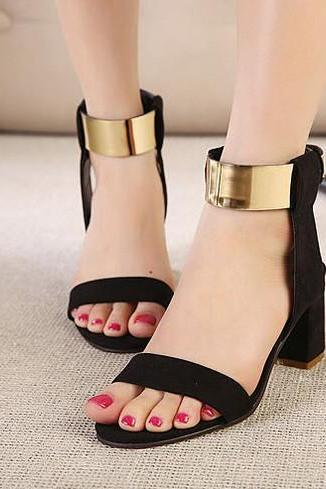 Suede Peep-Toe Stacked Heel Sandals with Metallic Gold Ankle Strap