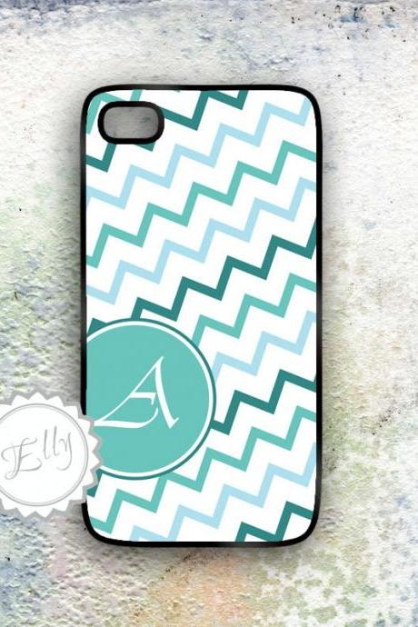 iPhone case zig-zag pattern monogram blue chevron plastic hard cover