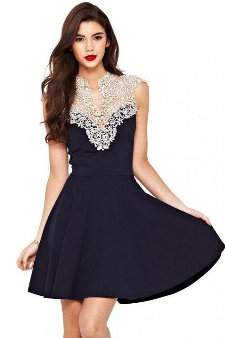 Hook flower lace dress