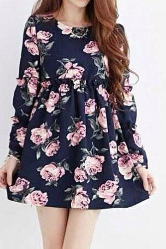 Rose/Geometric Print Long Sleeve High Waist Mini Dress