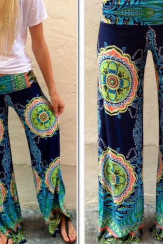 Fashion Lovely Printing Stitching Trousers SF06