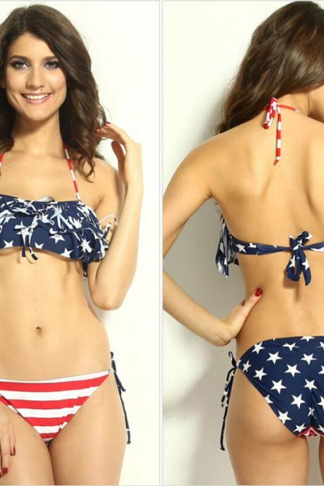 2015 Summer fashion cute New Sexy Tassel USA Flag Bikinis