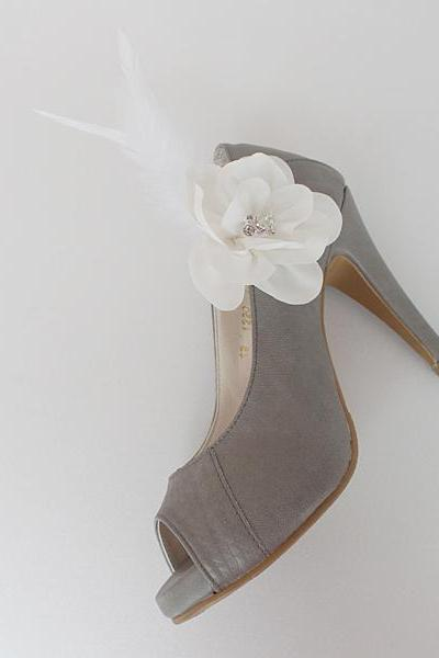 Feather Bridal Shoe Clips,Shoe Clips,Wedding Clips, Bridal Shoe Accessories,wedding shoes corsage