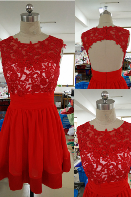 Short Red Lace Homecoming Dresses 2015 Sexy Open Back A Line Chiffon Tank Top Custom Made Cheap Short Prom Party Dress