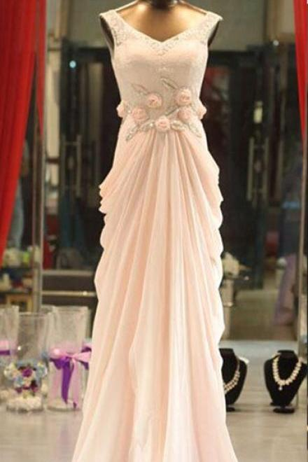 Charming Light Pink Chiffon Prom Gowns with Lace, Pink Prom Gowns, Prom Dresses, Formal Gowns, Evening Dresses