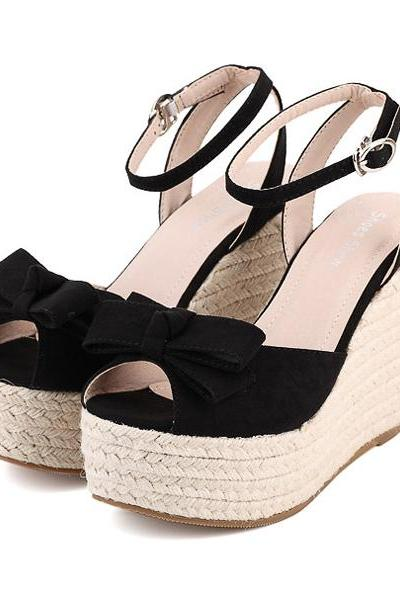 Peep-Toe Espadrilles Wedge Heels Topped with Ribbon